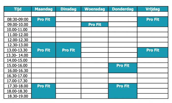 Oefentherapie Pro Fit rooster